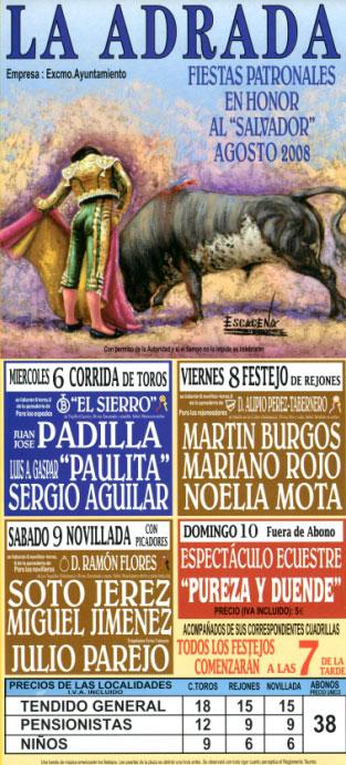 Cartel de Toros de las fiestas de El Salvador 2008