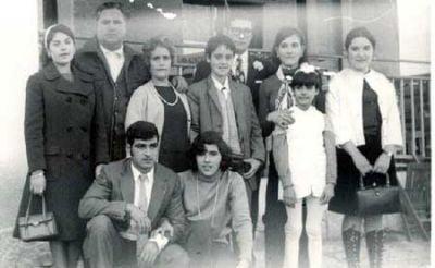 Familia Cuerva Hernández. Teresa, Ángel, Carmen, Ángel, Julio, Tomasa, Lucrecia, Josefa, Antonio y Carmen. (años 60)